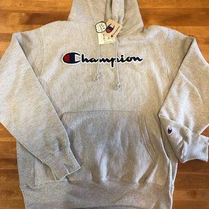 Champion Reverse Weave Chenille Logo Hoodie Large